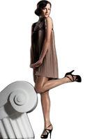 20 Denier Satin Gloss Shiny Beige, Black Tights - Fiore Idalia Sheer Hosiery