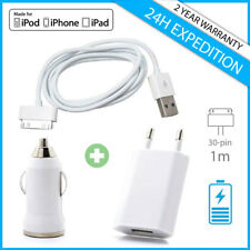3IN1 SET Charger Cable Chargeur Prise Voiture USB Mural Wall Car iPhone iPad