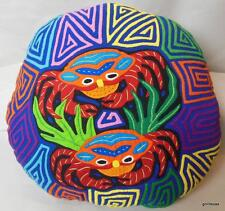 "Mola Applique Pillow Hand Made Panama Crab Design 13"" Stuffed  Vivid"