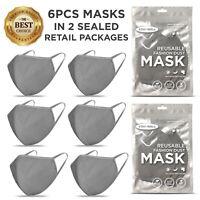 6 PCS Face Mask, Gray Fashion Mask, Washable Reusable, Unisex Mask *US SELLER*