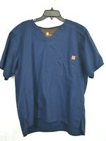 Carhartt Mens Navy Blue V-Neck Short Sleeve Comfort Fit Nursing Scrub T Shirt L