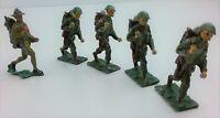 Toy Soldier Lot of 5 Marching Infantry Backpacks Shovels Rifles Detailed Vintage