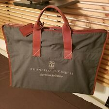 Brunello Cucinelli Suit/Garment Travel Valet Bag Gray w/Leather Trim and Handles