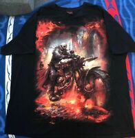 Spiral Direct Skull / Reaper / Biker/ Motorcycle Black T-shirt Size XXL