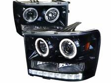GMC Sierra Truck Smoked Housing Projector Halo LED Headlights Crew Cab Single