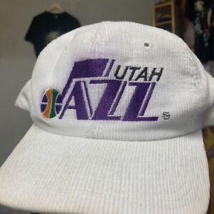 Vintage 80s Utah Jazz Corduroy Snapback White Twins Enterprise