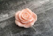 Large Flower Cabochon Flatback Vintage Pink Rose Resin Flower 45mm Big Flatback