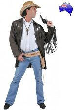 Mens Adult Sheriff Gunslinger Jacket Cowboy Wild West Fancy Dress Costume