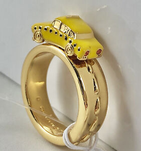 Kate Spade Taxi! Ring size 6 yellow cab gold plated novelty large statement New
