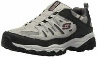 Skechers Mens After Burn Low Top Pull On Fashion Sneakers, Gray/Black, Size 8.5
