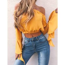 Fashion Women's Sexy Off Shoulder Crop Tops Summer Loose Shirts T-shirt Blouse ☇