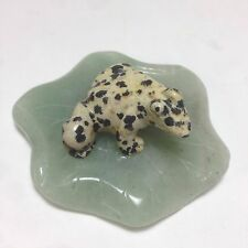 Gem Stone Carvings,  Dalmatian Frog on a Aventurine Lotus Leaf.  9605-1