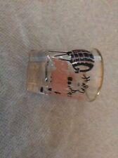 Vintage Pink Pig Shot Glass Dancing ' Happy Das '  Keg Barrel Gold Trim