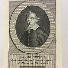 Jacques Godefroy (1587-1652) juriste Suisse estampe burin XIXe