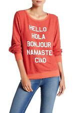WILDFOX Say Hello To Everyone Roadtrip Sweater Jumper India Red Small S MSRP $98