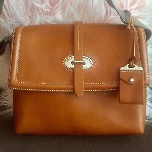 Dooney & Bourke Toscana Large Messenger Bag Ginger Leather Excellent Condition