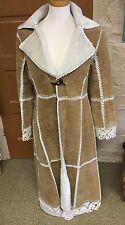 Brandon Thomas Brown Suede & White Fleece Coat or Jacket Size XS Hippie Boho