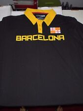Barcelona Soccer Futbol Adult Size Large Black Polo Shirt NEW W Tags Fifthsun