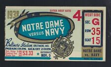VINTAGE 1938 NCAA NOTRE DAME FIGHTING IRISH @ NAVY MIDSHIPMEN FOOTBALL TICKET