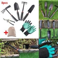8PCS Gardening Tools Set Rake Fork Hoe Cultivator Trowel Kit Garden Gloves + Bag