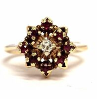 14k yellow gold .07ct SI2 G diamond red ruby ring 5.5g estate vintage antique