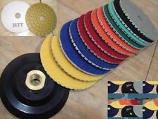"Diamond Polishing Pad 4"" inch Wet/Dry Set of 11+1 Backer Pad Granite Marble Slab"