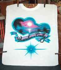 Pink & Blue DOUBLE BEACH HEART Airbrushed T-shirt All Sizes Up to 6X