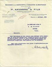 1921 Navarre & Fils Machines Manufacturers Canned Food Paris Vintage Letterhead