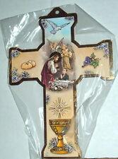FIRST COMMUNION  JESUS  W/ BOY SB 8 in Wood Cross NEW Religious Catholic