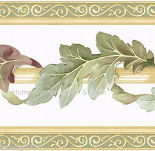 Green Scroll Leaf Leaves Architectural Sage Cream Beige Tan Wall paper Border