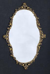 RARE! Vintage Gold *Ornate CARVED Metal Hollywood Regency MIRROR Antique Vanity