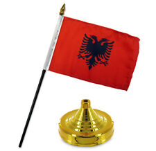 "Albania 4""x6"" Flag Desk Set Table Stick Gold Base"