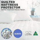 Aus Made 100% Cotton Cover Quilted Mattress Protector Topper Underlay-QUEEN