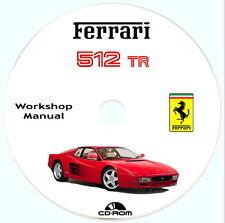 Workshop Manual,FERRARI 512 TR Testarossa,ISTRUZIONI e RIPARAZIONI dal 92 al 94