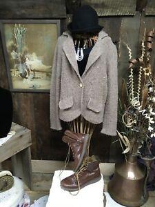 DENIM & CO Blazer Cardigan Sweater/ Jacket  Brown Melange Wool blend