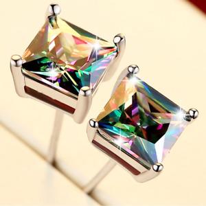 Woman/Men Princess-cut Mystic Topaz Crystal 18K White Gold Filled Stud Earrings