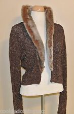 Intuitions Fur Collar Cardigan Sweater Size Medium Small S Chest 34""
