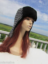 NEW BURBERRY $495 knitted trapper hat aviator lamb wool shearling black grey wow