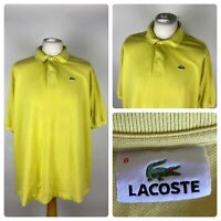 LACOSTE Mens Yellow Casual Polo Shirt Top Short Sleeved / 8 UK 3XL / Cotton VTG