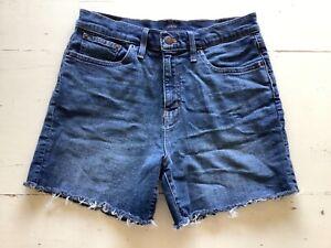 J CREW high waist cut off fringe Jean Shorts SZ 27