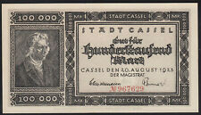 1923 100000 Mark Cassel Germany Rare Vintage Emergency Paper Money Banknote UNC