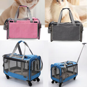 Breathable Pet Dog Cat Trolley Case Carrier Detachable Wheel Travel Stroller Bag