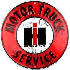 International Harvester Motor Truck Service Embossed Metal Circular Sign Garage