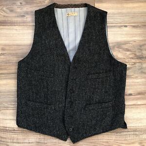 J Crew Moon British cloth  Tweed Herringbone Vest Waistcoat Sz M Buckle Back