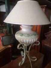 Lampada da tavolo abatjour luce ceramica vintage dipinta ferro battuto Toscana
