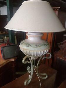 Lampada da tavolo abatjour terracotta dipinta ferro battuto Toscana