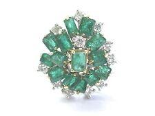 Fine Gem Green Emerald Diamond White Gold BIG Jewelry Ring 6.10Ct