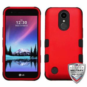 For LG V5 Titanium Red Black TUFF Hybrid Case Cover [Military-Grade Certified]