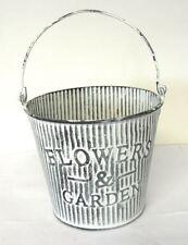 Flower & Garden Metal Bucket Tin Plant Planter Pot Handle Grey Vintage Decor