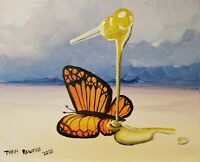 Than Rawford - Honey Butterfly - Surreal Acrylic Painting on Canvas 8x10